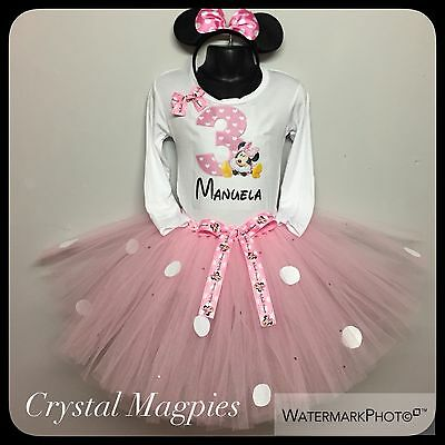 Personalised 3rd Birthday Minnie Mouse Tutu Outfit Cake Smash Rhinestone Skirt