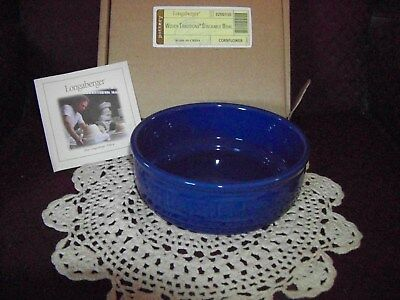 Longaberger Woven Traditions Pottery Stackable Bowl Cornflower blue NEW IN BOX!