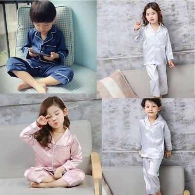 AU 3-10T Set Baby Boy Girl Silk Pajamas Kid Long Sleeve Sleepwear Night Wear Set
