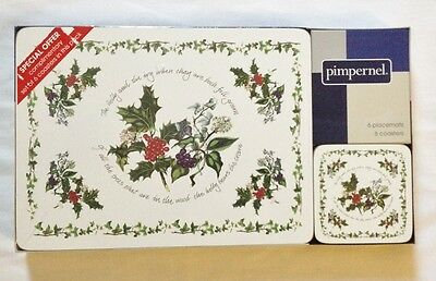 Portmeirion The Holly and The Ivy Placemats & Drink Coasters New SEALED Tablemat