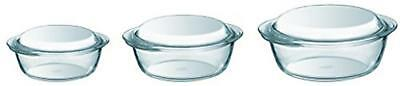 Pyrex Oven Safe Borosilicate Glass 3 Piece Cooking Dish Bowl Round Casserole Set