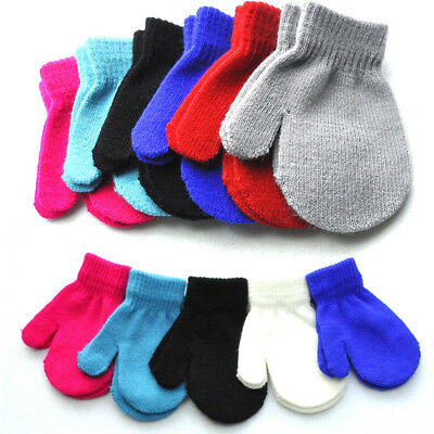 Girl Boy Baby Winter Warm Glove Toddler Magic Mittens Elastic Knit Red Blue Gray