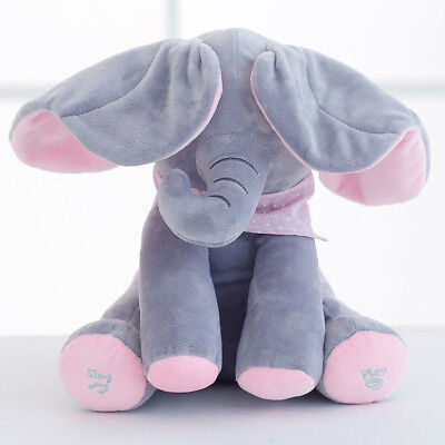 "12"" Peek-a-boo Elephant Baby Plush Toy Singing Stuffed Animated Animal Kids Doll"