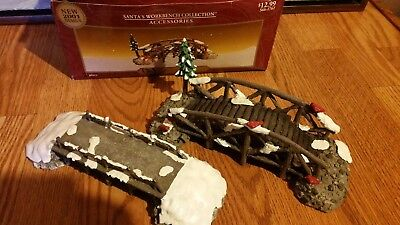"lot of 2 Santa's Workbench village collection ""Log Bridge"" with tree and without"