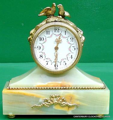 Swiss Tiffany Style Green Onyx Marble Mantle Clock
