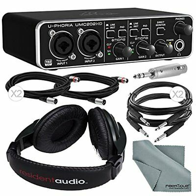 Behringer U-Phoria UMC202HD Audiophile 2x2 USB Audio Interface and Bundle