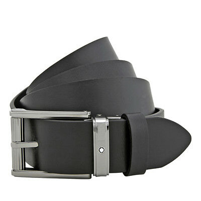 "MontBlanc Black Leather Belt 47"" x 1.3"""