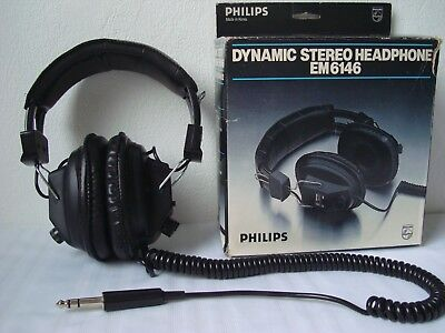 Philips EM-6146 Stereo/Mono Vintage Retro DJ Headphones Black 6.35mm Jack Boxed