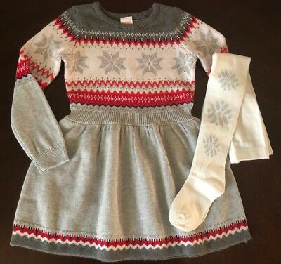 NWT Gymboree Girl North Pole Party Christmas Sweater Dress & Tights 6 7 8 10