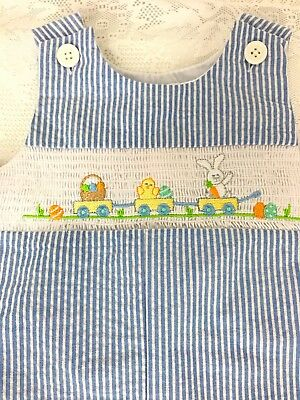 Good Lad Baby Boy 12 Mo One Pc Overalls Tiny Stripes Bunny And Duck Train