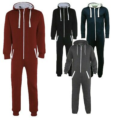 Mens Ladies Womens All In One Piece Pyjama Hooded Jumpsuit Sleepwear S M L Xl