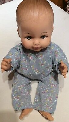 "Vintage 12"" Horsman Drink & Wet Baby Doll With Molded Hair."