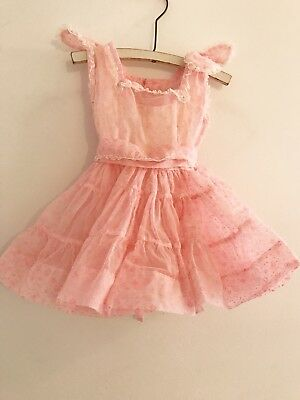 Vintage 1950s Neon Pink Sheer Baby Girl Dress Lace Flocked Floral Slip