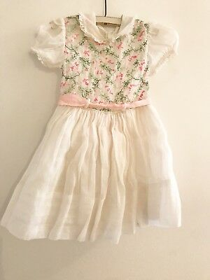 Vintage 1950s White Sheer Toddler Girl Dress Green Pink Floral Embroidery
