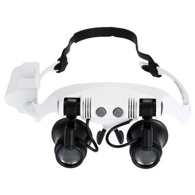 ELETTRONICA White 10X 15X 20X 25X Wearing Glasses Eyes Illuminated Magnifier Ma