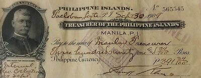 US/ Philippines 1909 Archipelago Issued Check