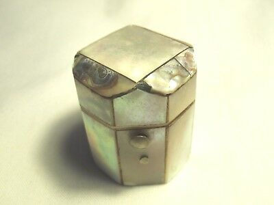 Antique Mother Of Pearl Thimble Holder With Silver Thimble
