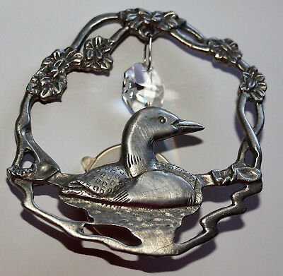 Pewter? Loon Bird Suncatcher with Prism LOON ON THE WATER Window Ornament EUC
