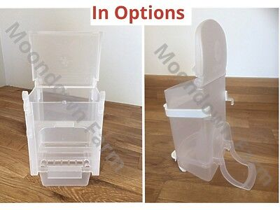 EXTERNAL / INTERNAL BIRD SEED FEEDER/ HOPPER FOR CANARY FINCH BUDGIE In Options