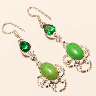 """Green Copper Turquoise,chrome Diopside Gemstone 925 Silver Jewelry Earring 2.42"""""""
