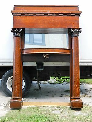 Tiger Oak Fire Place Mantel with Full Columns and Mirror circa1900
