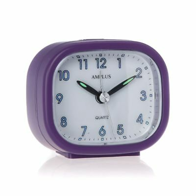 Small Travel Sweep Silent Movement Beep Alarm Clock With Snooze Purple