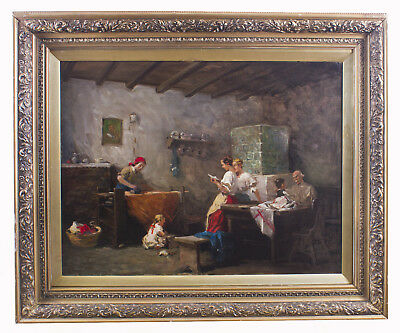 Antique Oil Painting by Eugenio Zampighi  Titled News from the Front 1885