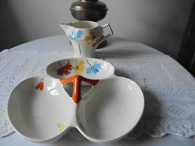 2 Pieces Of Myott, England Tableware - 3 Section Serving Dish & Cream/milk Jug