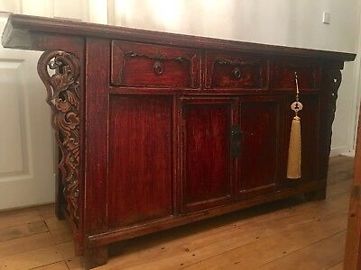 Antique Chinese Carved Sideboard. Oriental Winged Cabinet. Beautiful patina.