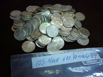 Lot of 103 Almost Unc. 1964 50c Kennedy Silver Half Dollars
