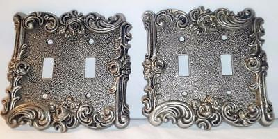 "Pair Of Vintage Pewter Double Switch Plates Ornate Rose & Scroll Design 5"" × 5"""