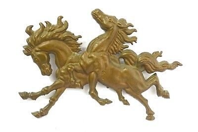 "Vintage Brass Wall Hanging Running Horses Decor Metal Art Stallions 11"" long"
