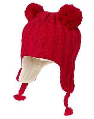 Nwt Gymboree Holiday Shop Red Cable Fur Lined Pom Sweater Trapper Hat S M L