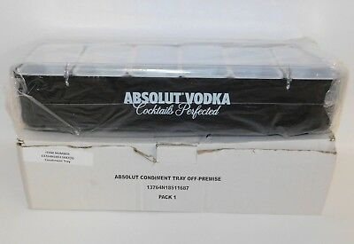 Absolut Vodka Condiment Fruit Tray Bar Caddy 6 Compartments w/Lid & Original Box