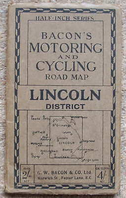 Vintage Map Bacon Motoring and Cycling Map Lincoln District  1/2 inch