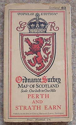 Vintage OS map of Scotland Sheet 63 Perth and Strath Earn  1929