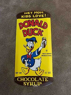 Vintage Donald Duck Chocolate Syrup Tin Embossed Can Door Push Advertising Sign