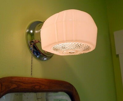 Mid Century Enameled Sconce with New Pull Chain Fixture