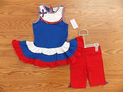 NWT Girls EMILY ROSE 4th of July Red White Striped Dress Shirt 2 Piece Set 6