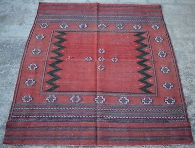 HR afghan vintage sofreh kilim Tribal persian antique Turkish old rug 3'11 x 4'4