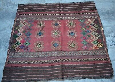 HR afghan vintage sofreh kilim Tribal persian antique Turkish old rug 4' x 3'6