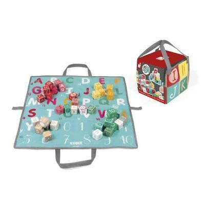 Janod Kubix - 40 Letters and Numbers Wooden Blocks with Play Mat 2+
