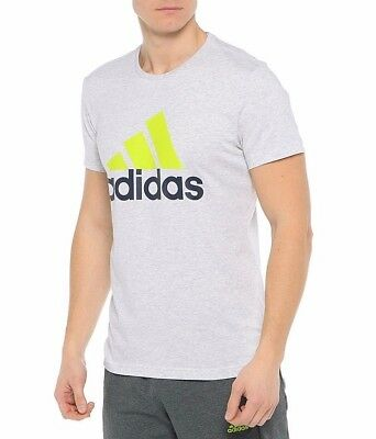 New Grey Men/'s Adidas Performance Logo T-Shirt Top