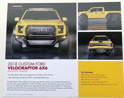 "2018 Ford Raptor "" Velociraptor"" 6x6  SEMA handout brochure card - double sided"