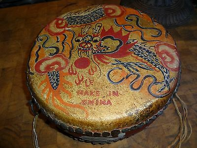 Vintage Double Sided Chinese Drum, Decorated/Painted, Old Tacks, Hide, Signed