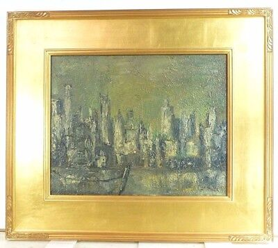 VINTAGE ABSTRACT MODERNIST NEW YORK CITYSCAPE OIL PAINTING MID CENTURY 1960s
