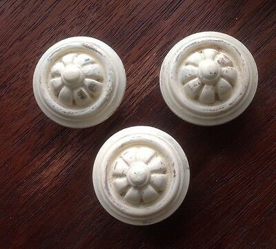 514 VTG Large French Provincial Knobs In Ivory Wash. 3 Available