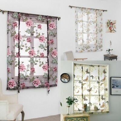 Rod Liftable Kitchen Bathroom Window Roman Curtain Floral Sheer Voile Valances