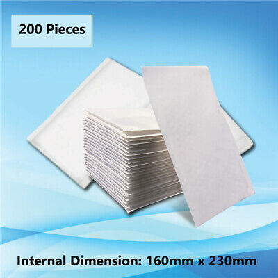 200 pcs 160x230mm Bubble Padded Bag Mailer White Plain Kraft Cushioned Envelope