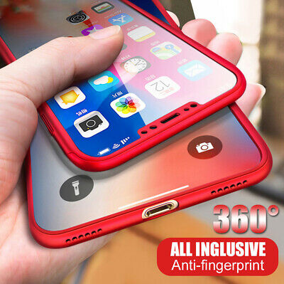 360 Protective Case For iPhone X 7 8 Plus 6s 5s Shockproof Cover+Tempered Glass